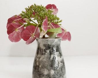 little black brushed vase, handmade, wheel thrown, stoneware clay, glazed