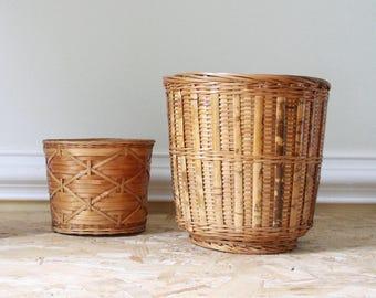 Set of two vintage bambo woven baskets, plant pots.modern boho style
