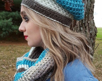 Color Block Slouch Hat, slouchy beanie, winter beanie