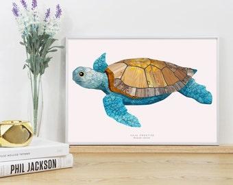 Turtle Swimming Graphic Print