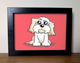 Cartoon Cavachon Dog Framed Print - Perfect gift for any dog lover