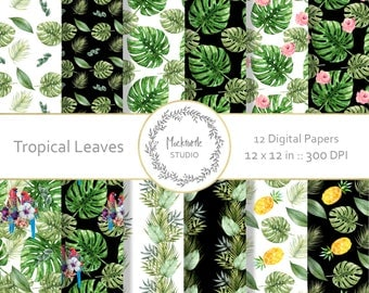 Tropical Leaves digital paper - Tropical clipart - Scrapbook paper, Tropical Digital Paper, Leaves Digital Paper, Commercial use