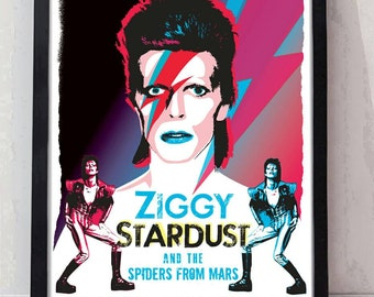 Bowie Ziggy hand drawn and digitally coloured tribute music poster. Unframed. Art quality print