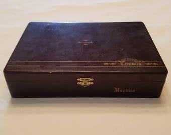 Wooden Cigar Box, Alec Bradley, Tempus, Magnus, Brown Cigar Box