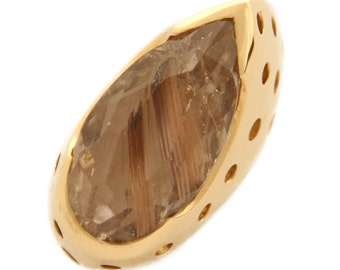 "18 Kt yellow gold ring with Quartz-Euro 1 ' 247.00 Granted -25%-""free shipping"""