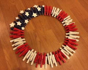 "18"" Red, White, and Blue Flag Clothespin Wreath"