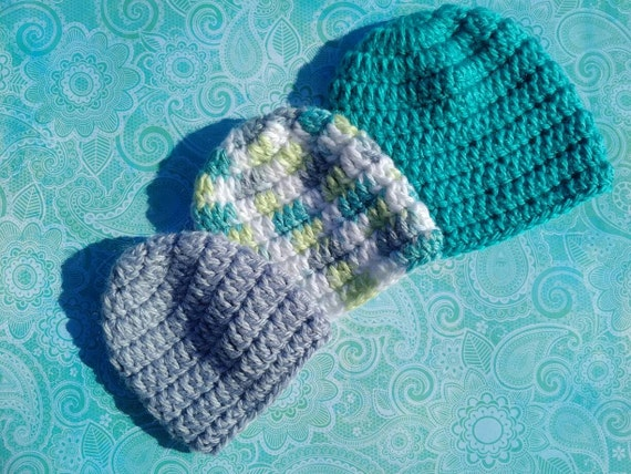Preemie Boy or Girl 27-29 Wks Classic Crocheted Beanies - Grow with me set of 3 hats. For preemies born at 27-29 weeks. Hat sizes 1, 2 and 3