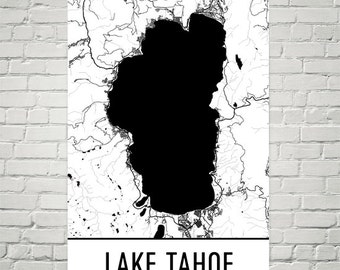 Lake Tahoe Map, Lake Tahoe Art, Lake Tahoe Print, Lake Tahoe CA Poster, Lake Tahoe Wall Art, Lake Tahoe Gift, Map of Lake Tahoe, Decor, Art