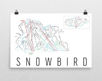 Snowbird Ski Map Art, Snowbird Utah, Snowbird Trail Map, Snowbird Ski Resort Print, Utah Art, Utah Map, Utah Print, Utah Poster, Salt Lake