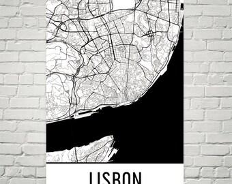 Lisbon Map, Lisbon Art, Lisbon Print, Lisbon Portugal Poster, Lisbon Wall Art, Lisbon Poster, Lisbon Gift, Lisbon Decor, Lisbon Map Art