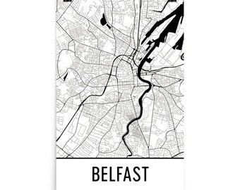 Belfast Map, Belfast Art, Belfast Print, Belfast Northern Ireland Poster, Belfast Wall Art, Map of Belfast, Belfast Gift, Belfast Decor, Map