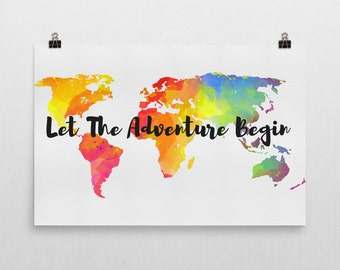 Let The Adventure Begin Sign, Let The Adventure Begin Art, Let The Adventure Begin Print, Travel Decor, Travel Art, Travel Artwork, Travel