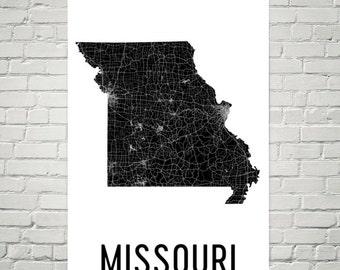 Missouri Map, Missouri State, Missouri Art, Missouri Print, Missouri Wall Art, Missouri Sign, Missouri Decor, Poster, Map of Missouri