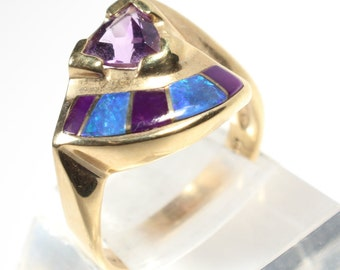 14k Gold Ring Amethyst Opal Sugalite Inlay February Birthstone Birthday Gift for Her