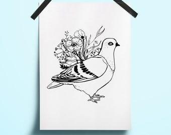 Print pigeon Art spring bird flower Dove home Bird art printable Spring blossom Wall peony Line black white Print botanical Ink minimalist