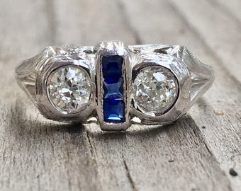 Vintage Belais diamond and sapphire ring SALE