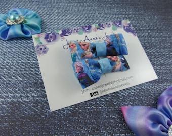 Bow Tie Hair Clip - Set of 2 - Frozen Elsa