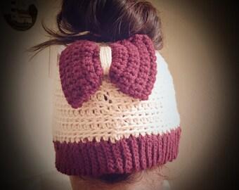 Crochet messy bun/ponytail beanie