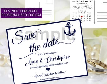 Navy blue Wedding Save the date,Anchor Wedding Save the Date printable,Navy Blue Save the Date,Wedding Save the Date,Modern Save the dat,0ew