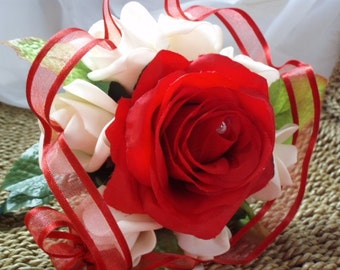 Small posie bouquet,Small wedding bouquet, Red roses wedding bouquet, Bridesmaid bouquet. Red and cream roses bouquet