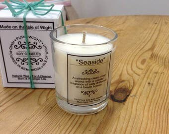 "Small ""Seaside"" Fragrance Pure Soy Wax Candle."