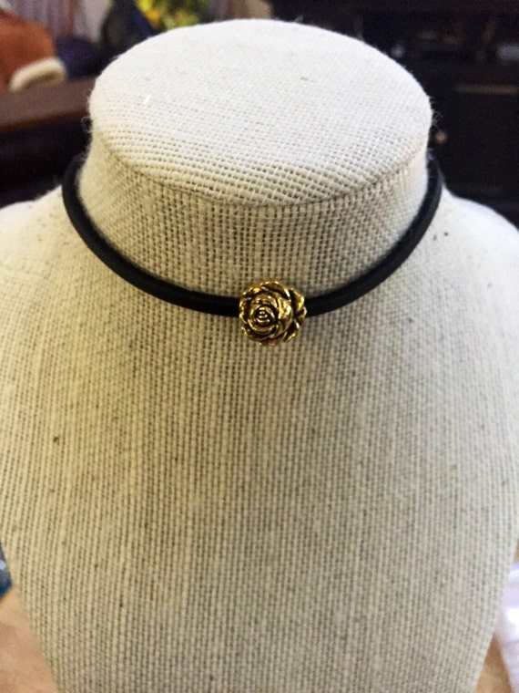 Black Choker with Gold Rose