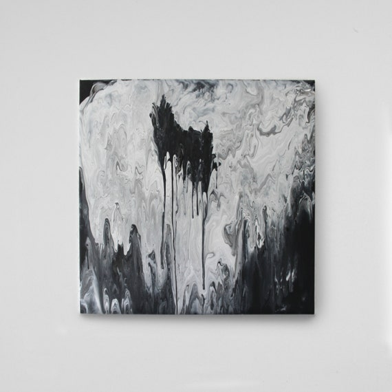 THE HOLE - abstract art on canvas / acrylic painting with water / fluid acrylic painting / black and white black white
