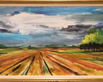 Large Dramatic Impressionistic Landscape Oil Painting