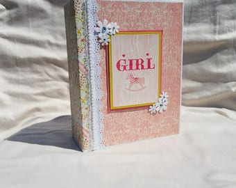 Baby mini album, baby book, baby girl album, interactive scrapbook, baby photo album, mini scrapbook, baby shower gift, pink, memory album