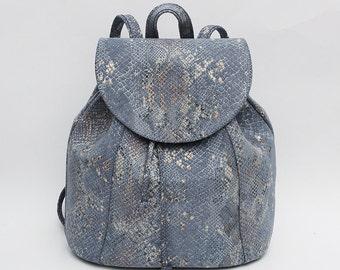 Suede Leather backpack, Grey, School Backpack, Satchel, Rucksack, Italian leather, Street Backpack, Bucket Backpack