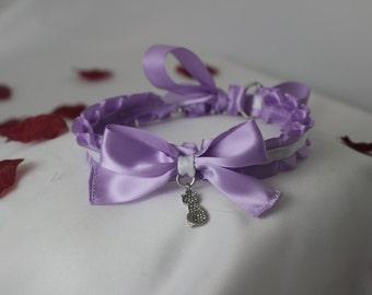 Lavender Ruffled Collar/Choker with Optional Charm
