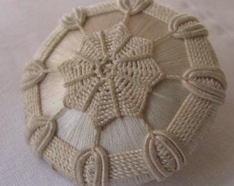Large Antique Ecru Crocheted Button