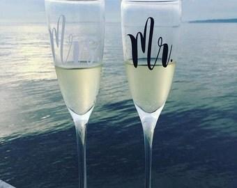 Mr. & Mrs. Champagne Flute