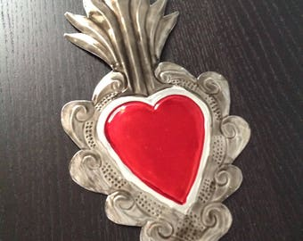 Tin Heart Plaque Aged Look Handmade Mexican Tin Wall Ornament Mexican Folk Art