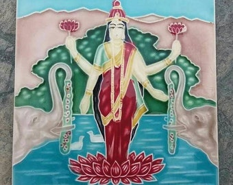 A beautiful 1940's ceramic tile depicting Goddess Laxmi Free shipping.