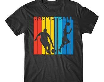 Retro 1970's Style Basketball Players Silhouette Sports Shirt