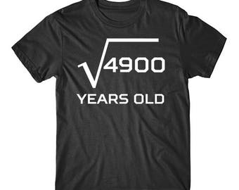 Square Root Of 4900 Funny 70 Years Old Funny 70th Birthday Math T-Shirt