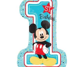 "Mickey First Birthday Balloon 28"", First Birthday Balloon, Mickey Mouse Birthday Balloon, 1st Birthday Mickey 28"""