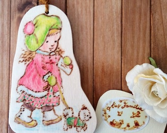 Wooden Christmas decoration Sarah Kay (Girl with puppy)-Pirografata and coloured