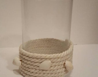 Shells and rope nautical candle holder.