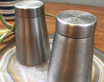 SALE!! Salt and Pepper Shakers - Mid Century Brushed Metal