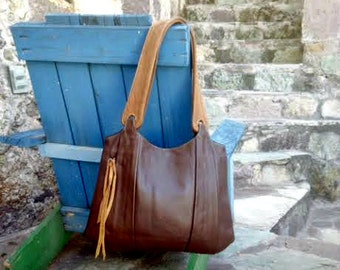 Brown Cafe Leather Hobo Bag