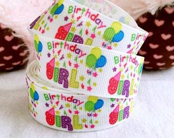 """3 yards 7/8"""" Birthday girl ribbon, Birthday ribbon, birthday ballon ribbon, Happy Birthday ribbon, grosgrain ribbon"""