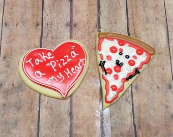 Pizza Cookies - Love Cookies - Boyfriend Gift - Decorated Cookies - Sugar Cookies - Pizza Decorated Cookies - Heart Cookies