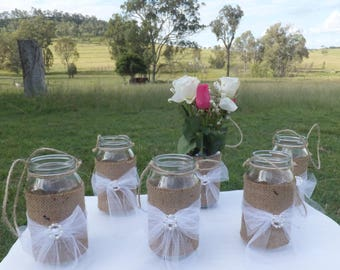 Burlap and tulle wedding jars with twine hangers - Set of 6