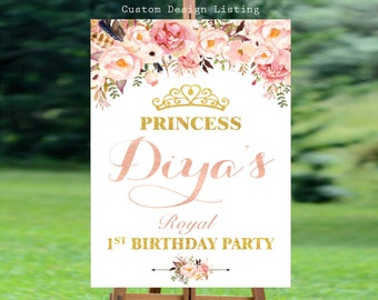 Welcome to birthday sign, Birthday welcome sign, welcome to party sign, pastel birthday sign, first birthday sign - US_KI201