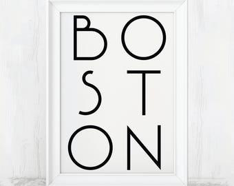 Boston, Massachusetts, Printable Art, Boston Print, Boston Art, Boston Poster, Boston Wall Art, Boston City Print, Boston Art Print, Mass