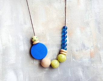 Geometric Necklace, Boho necklace, Statement Necklace, Bohemian Jewelry, Handmade necklace, Agate, Wooden necklace, Asymmetrical necklace