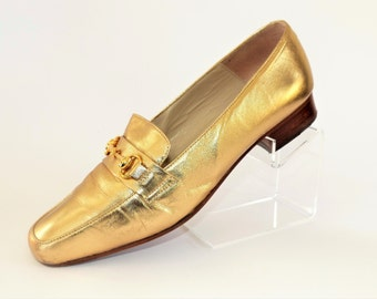 Bally Gold Flat Loafers with Gold Buckle/Size UK 5/Retro Shoes/1990's