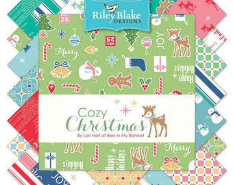 "Riley Blake Cozy Christmas Fabric Collection 5"" stacker - 42 square pieces"